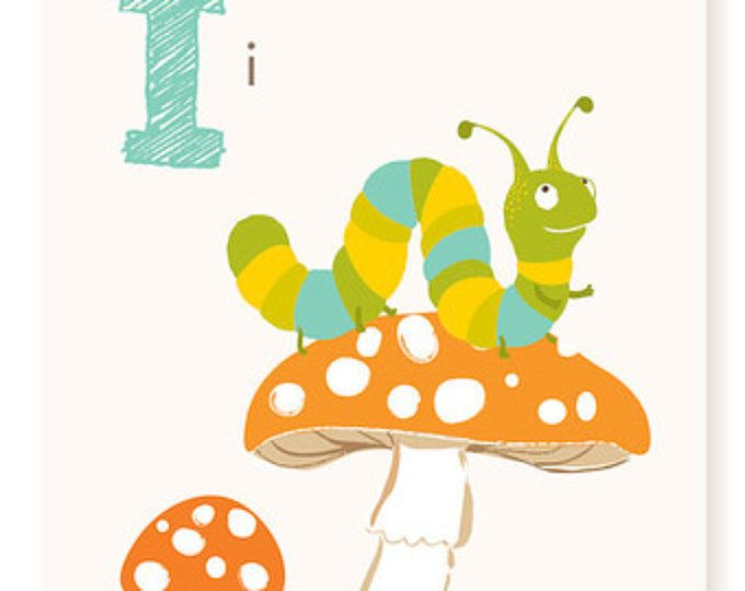 ABC wall art, ABC card, I is for, Inchworm, alphabet flash cards ...