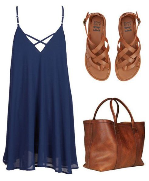 cupshe summer outfit dress. Brown purse. Brown sandals. Blue dress. Summer dress. Summer fashion.…
