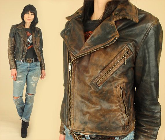 bea660033 LEATHER Motorcycle Jacket // Womens ViNtAgE 40's 50's TALON Zippers ...