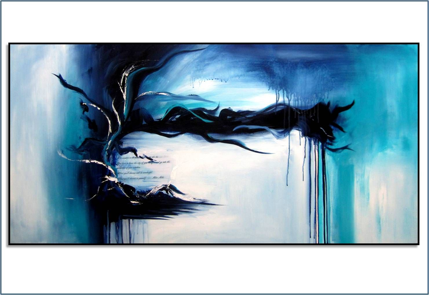 Large Blue Abstract Art. Original Painting. Free Shipping