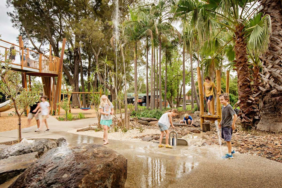 Fully immersive water play at adelaide zoo play space for Outdoor garden designers adelaide