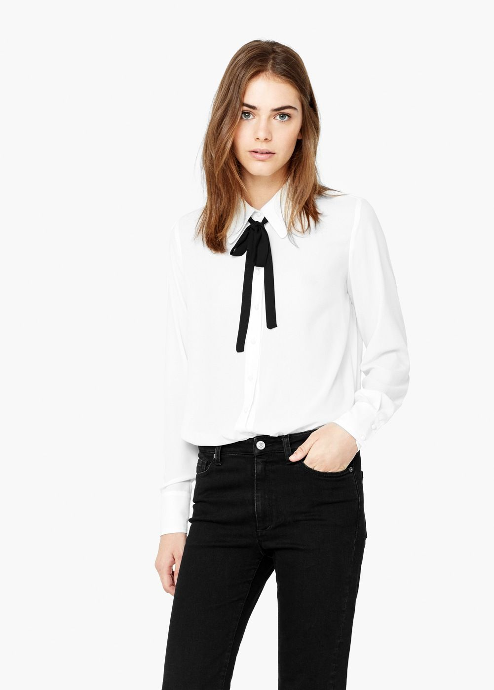 aef0bd7f6a Blusa lazo cuello - Mujer | Latin Fashion | Blusas con lazo, Camisas ...