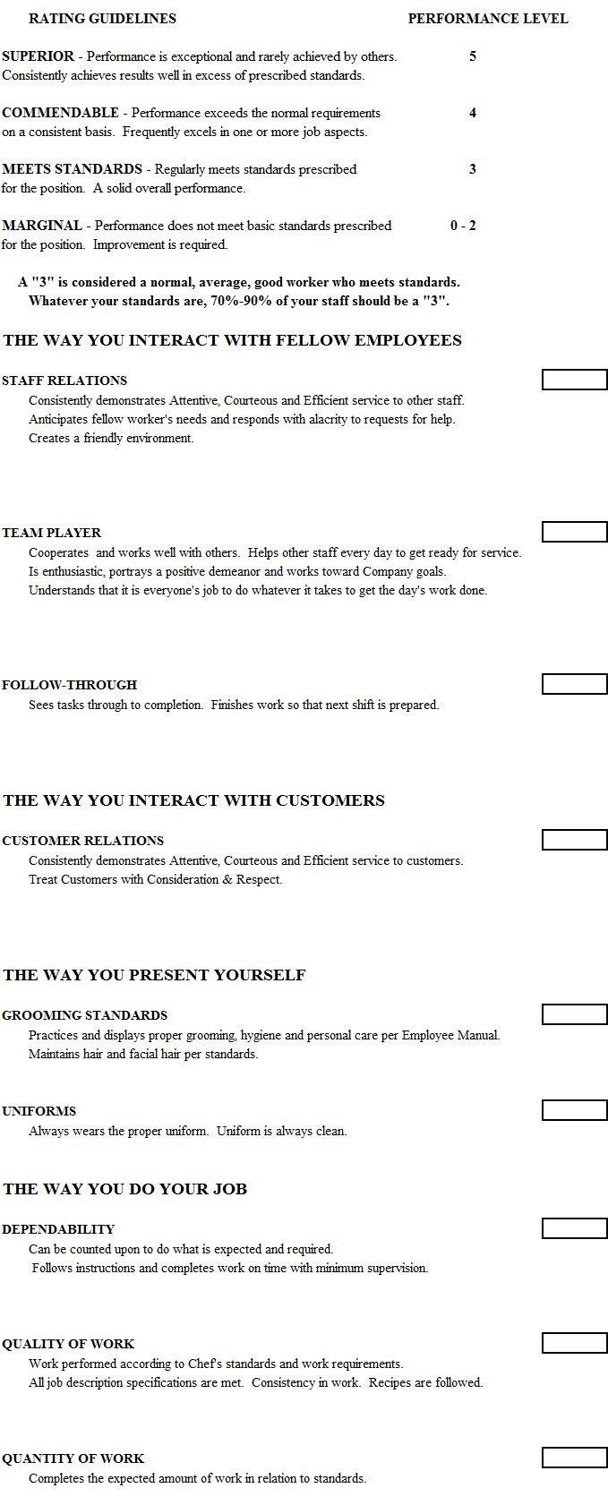 Cook Evaluation Form Chef Management Tools Evaluation