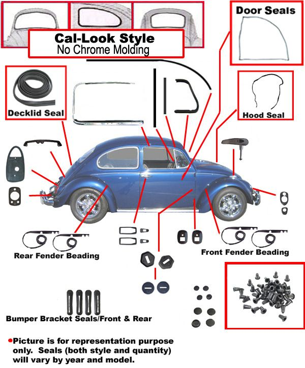 Vw Complete Car Rubber Kit Cal Look Beetle Sedan 1971 Vw Beetles Vw Parts Vw Beetle Parts
