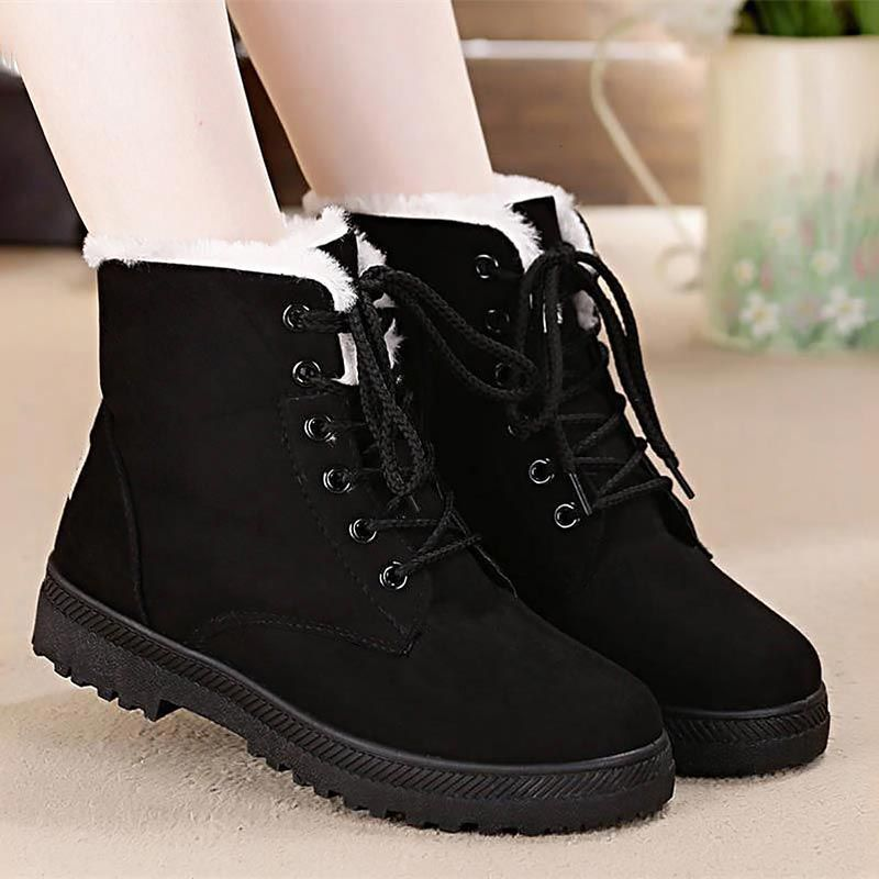 2b0ecb01576c Snow Boots 2018 Classic Heels Suede Women Winter Boots Warm Fur