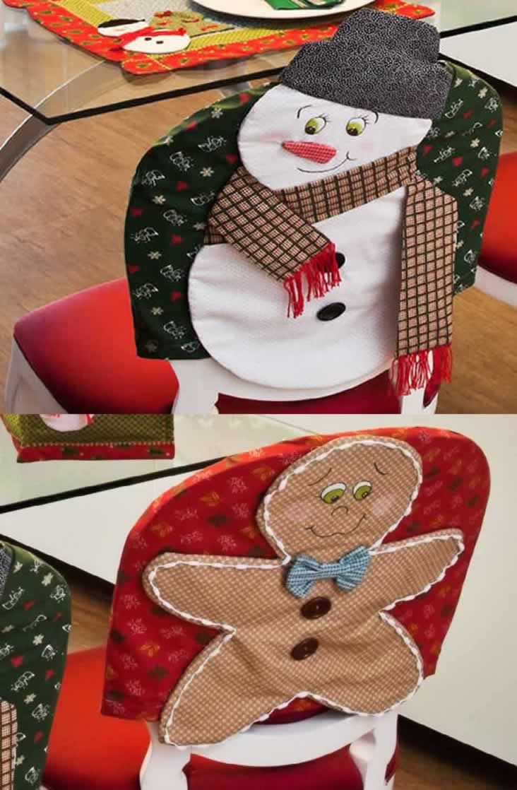 christmas chair covers pinterest toddler recliner with cup holder capa de cadeira natalo snowman ornaments seat