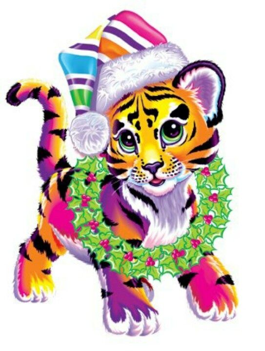 Lisa Frank white tiger with rainbows - in jungle with monkeys ...