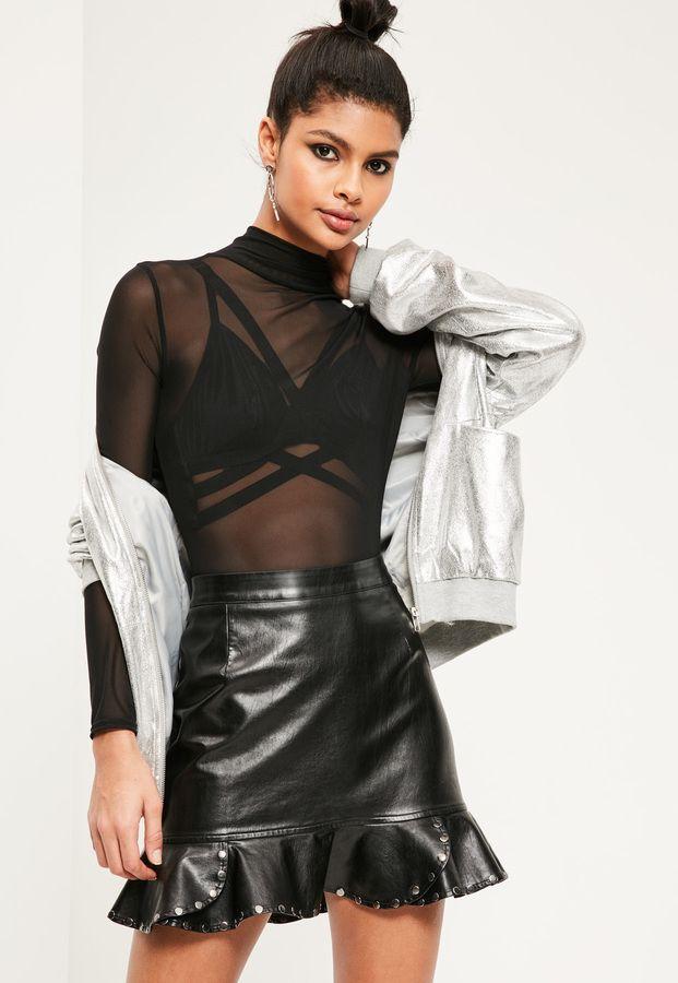 9dcbe603cb Black Faux Leather Frill Hem Stud Mini Skirt | FASHION in 2019 ...
