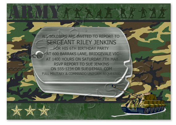 Army Men Boys Party Invitation