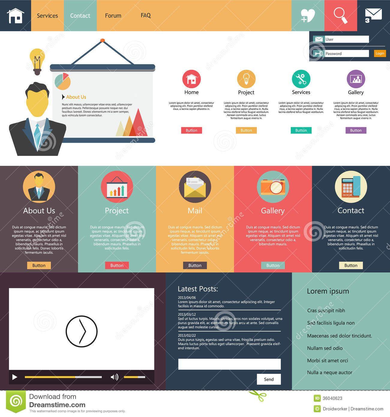 Web Design Elements Flat Design Google Search Flat Web Design Web Design Website Template