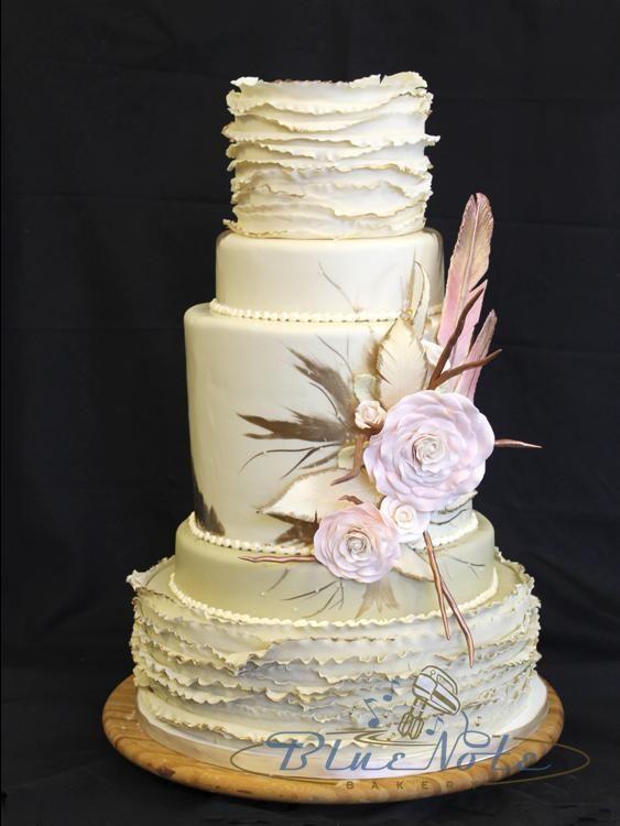 Elegant Fondant Ruffles With Gumpaste Flowers And Feathers Blue Note Bakery Austin Texas Cake Ruffles Cake Wedding Cakes Wedding Cake Designs