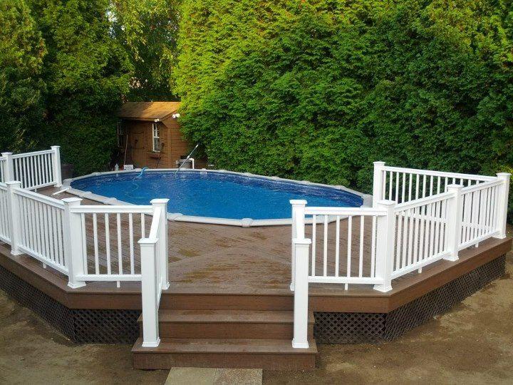 15x26 Semi Inground Sharkline Extruder With Deck Best Above Ground Pool Backyard Pool Backyard Pool Landscaping