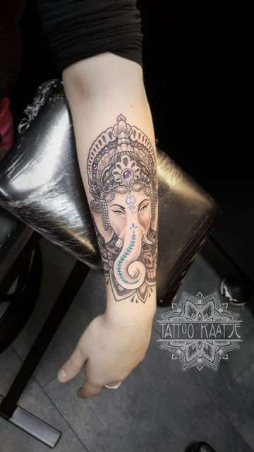 ganesha - tattoo - dotwork | Arm | Ganesha tattoo, Ganesh ...