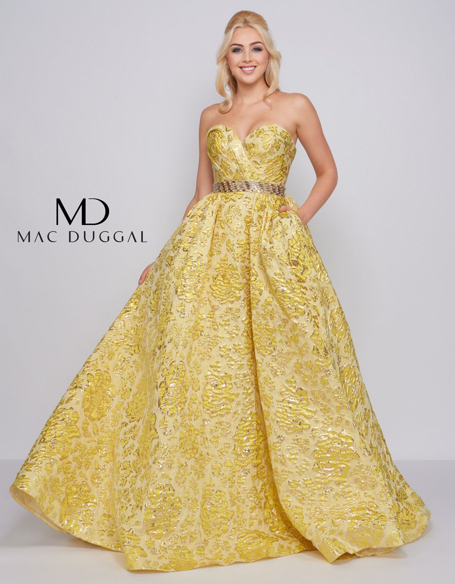 a501598e295 Be a pineapple, stand tall, wear a crown and be sweet on the inside with  style number 66719. Lush yellow brocade A-Line ball gown with sweetheart  neckline ...