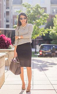mixed metal necklace, gray sweater, oversized watch, black pencil skirt, leopard pumps 1