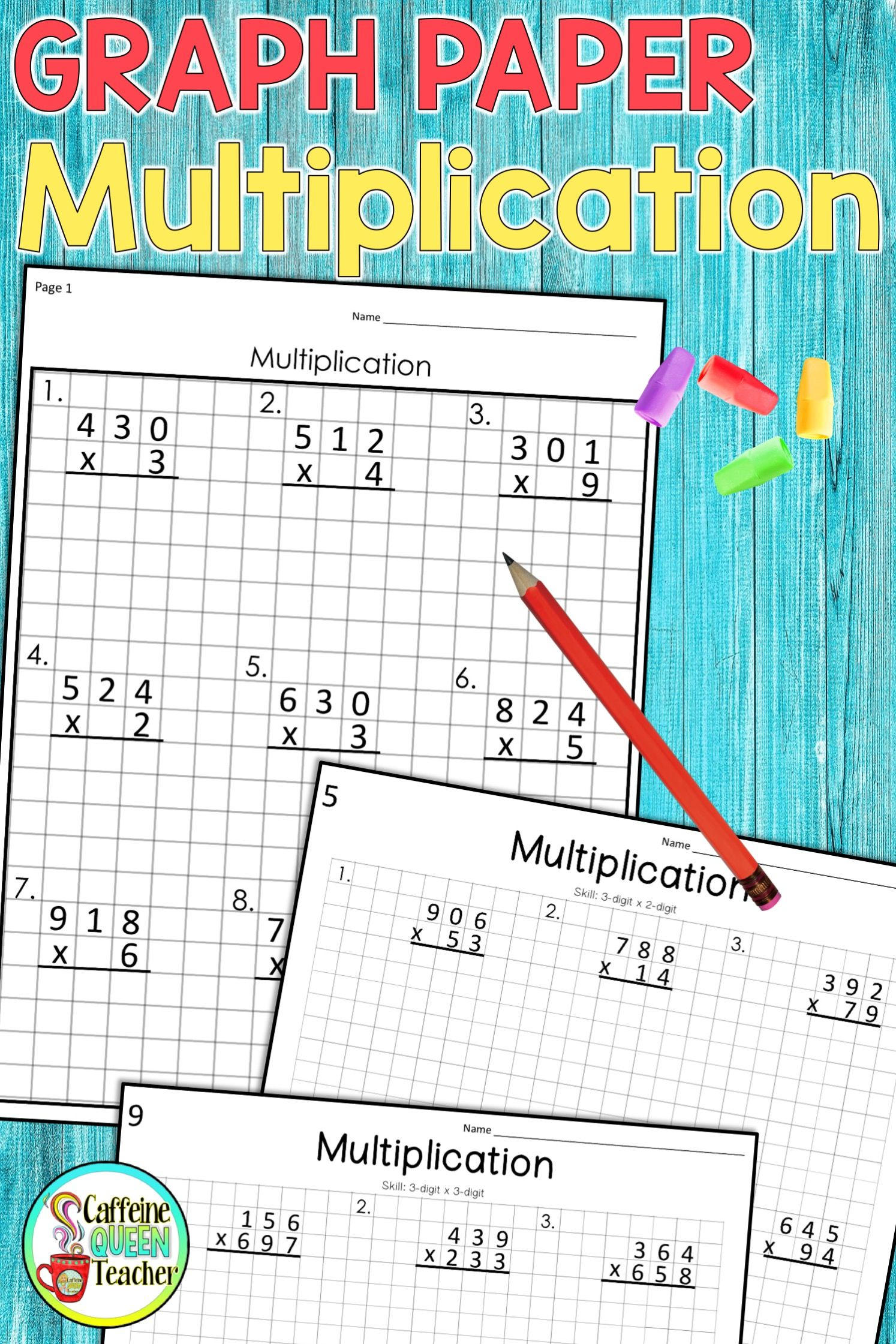 3 Digit Multiplication On Graph Paper Worksheets With