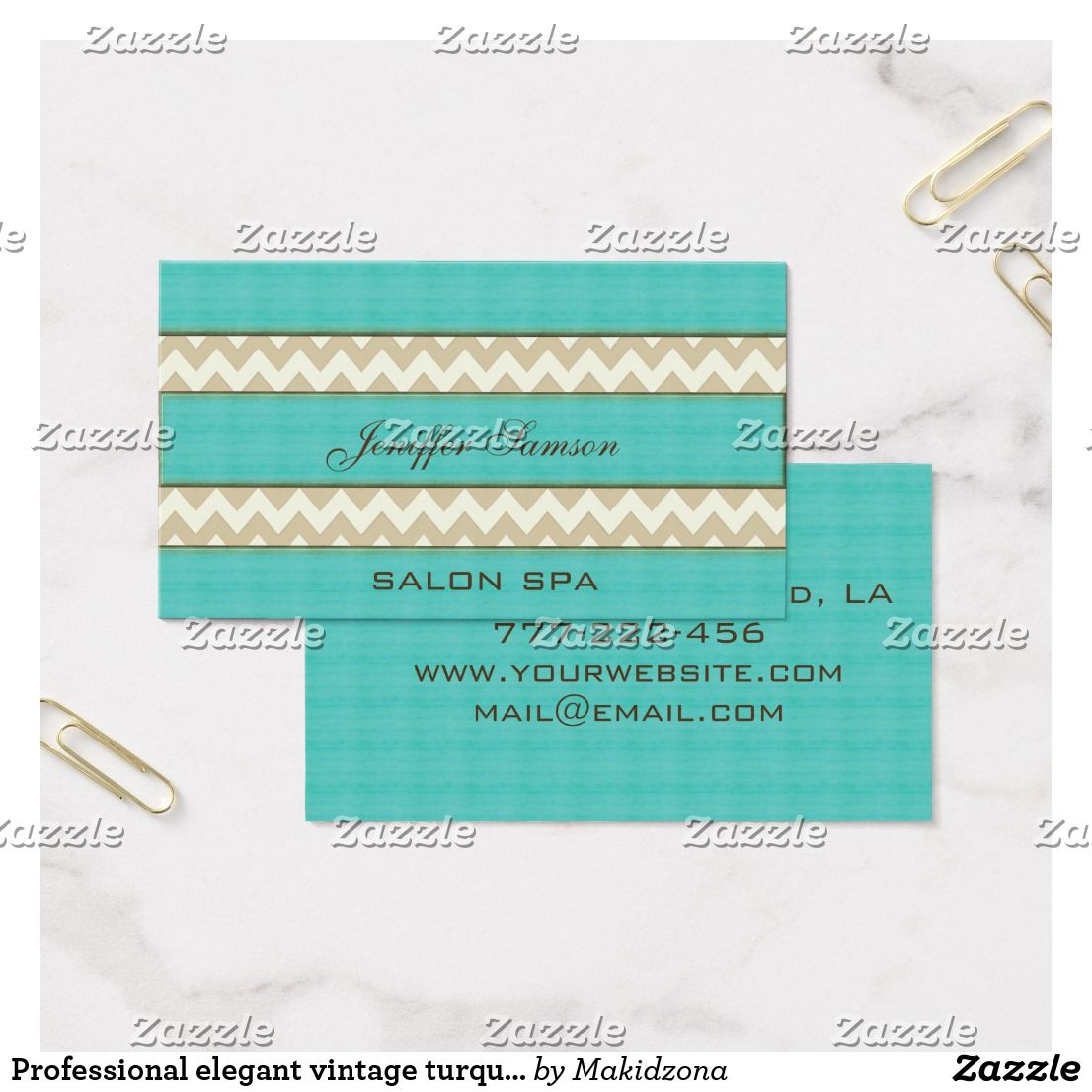Professional elegant vintage turquoise chevron business card ...