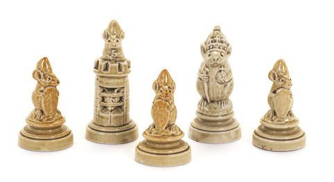 George Tinworth For Doulton Lambeth a Set of Five Mouse Chess Pieces, circa 1890 – comprising a King/Queen, a Rook and three Pawns in a pale green glaze 8.2cm, 8.8cm and 6.5cm high each with 'G.T' monogram, the King/Queen with Doulton Lambeth mark.  Sold for £3,125 at Bonhams, London, October 2014. Image Copyright Bonhams.