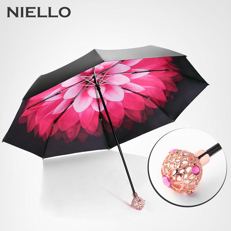 Niello Fashion Women S Umbrellas Luxury Flower Print Black Coating Double Layer Folding Rain Umbrella Women Guarda Ladies Umbrella Luxury Flowers Rain Umbrella