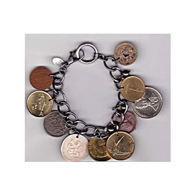 Foreign Coin and Pyrite Bracelet. Super cool.