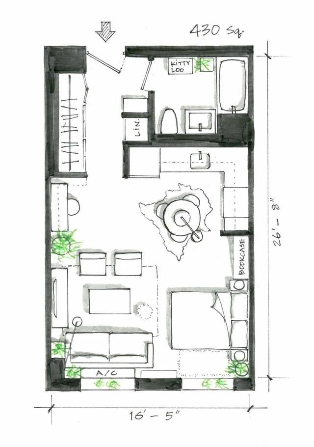 5 smart studio layouts that work wonders for one room for Small apartment layout ideas