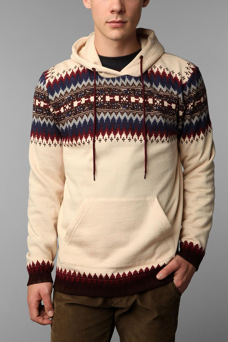 Blue Squares Fair Isle Center Stripe Pullover Hoodie $49.00 Online ...