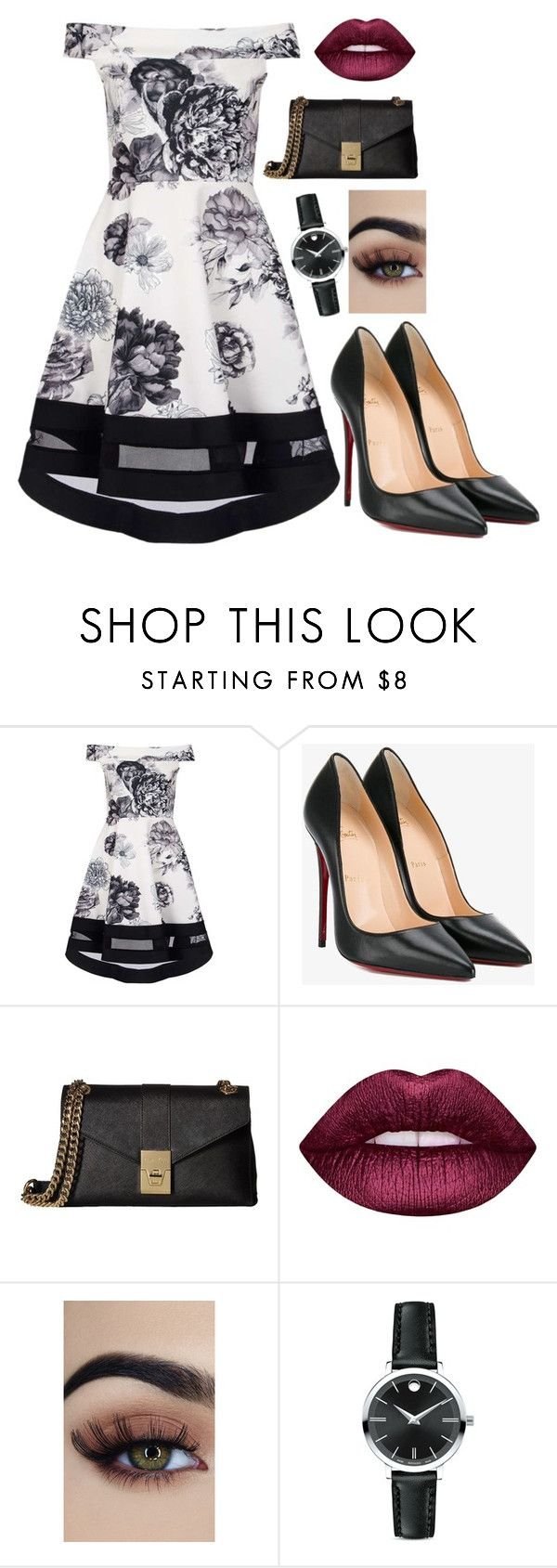 """Simple date"" by kweencupcake08 on Polyvore featuring Dorothy Perkins, Christian Louboutin, Calvin Klein, Lime Crime and Movado"