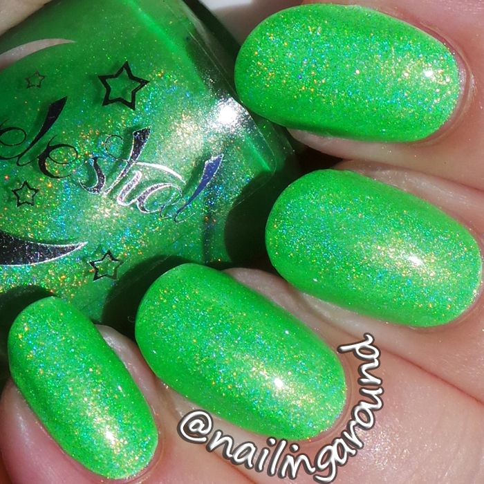 Adrenalin a neon green linear holographic polish. One of