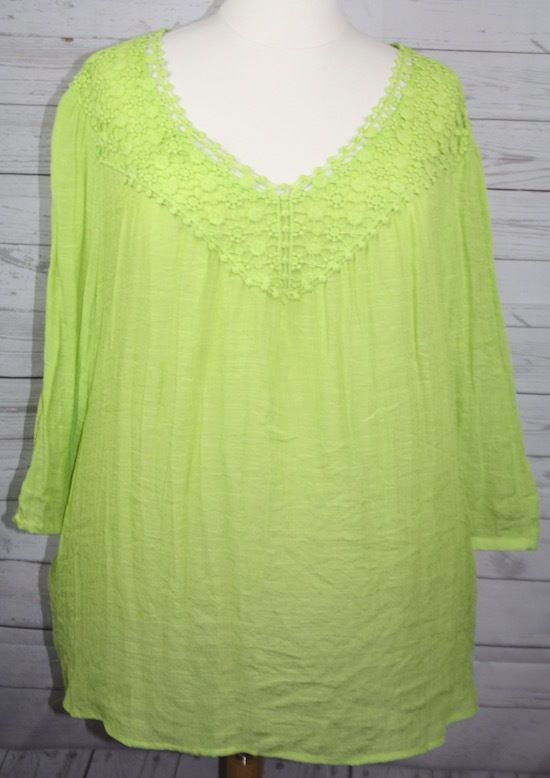 797db1856ac Avenue Womens Plus Size Lime Green BoHo 3 4 Sleeve Lace Embellished Top 30  32