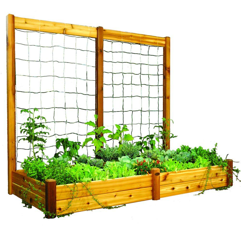 Gronomics 48 In X 95 In X 13 In Raised Garden Bed With 95 In W X 80 In H Safe Finish Trellis Kit Rgb Tk 48 95s The Home Depot In 2020 Aquaponics Diy Growing Vegetables Aquaponics