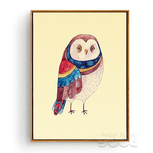 Watercolor Owls Canvas Art Print Poster, Wall Pictures for Home ...