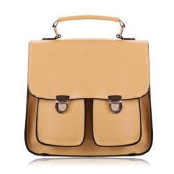 Vintage Style Solid Color and Push-Lock Design Women's Tote Bag