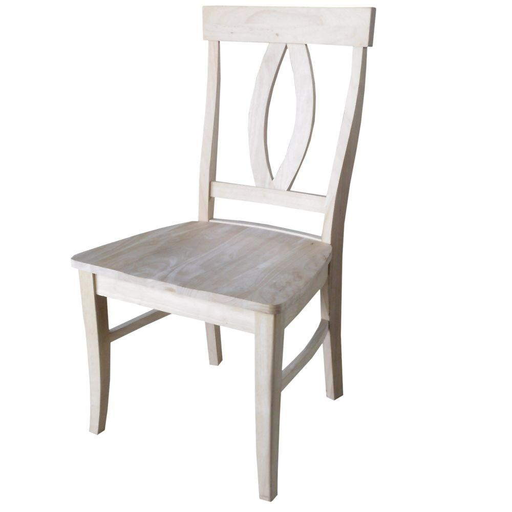 International Concepts Verona Unfinished Wood Dining Chair Set Of