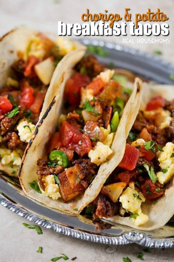 These Chorizo and Potato Breakfast Tacos are full of bold flavors for an epic breakfast recipe you'll want to make again and again! #chorizobreakfastrecipes