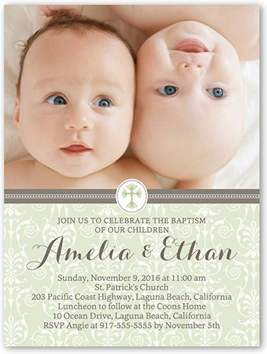Baptism Invitations Faithful Damask Twin, Square, Green Products - sample baptismal invitation for twins