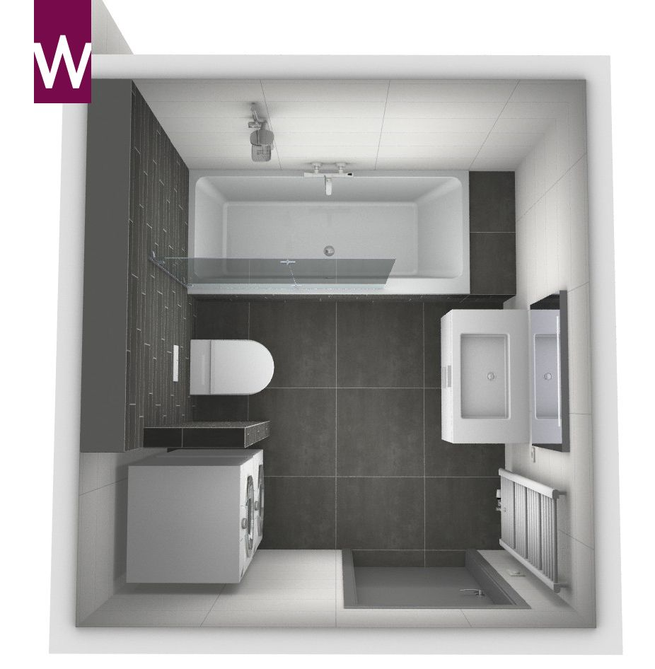 Compacte badkamer met wasmachine droger wandcloset ligbad met douche wastafel en - Kleine betegelde badkamer ...