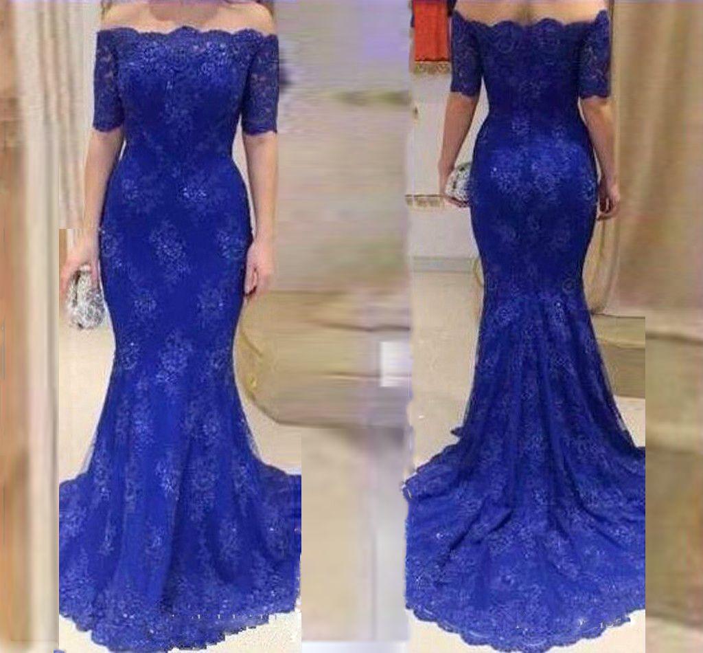 Schulterfrei Spitze Royal Blue Mermaid Abendkleid Kleider Kurzen ...