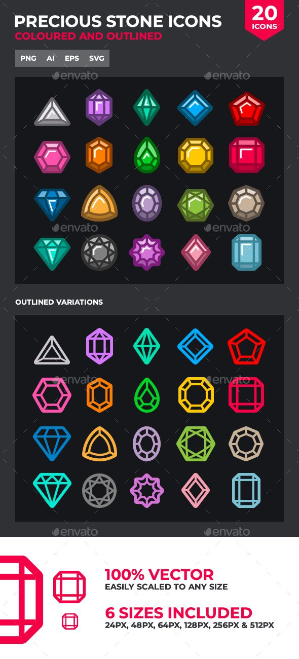 Precious Stones and Gems Icon Set Fully customisable set of icons
