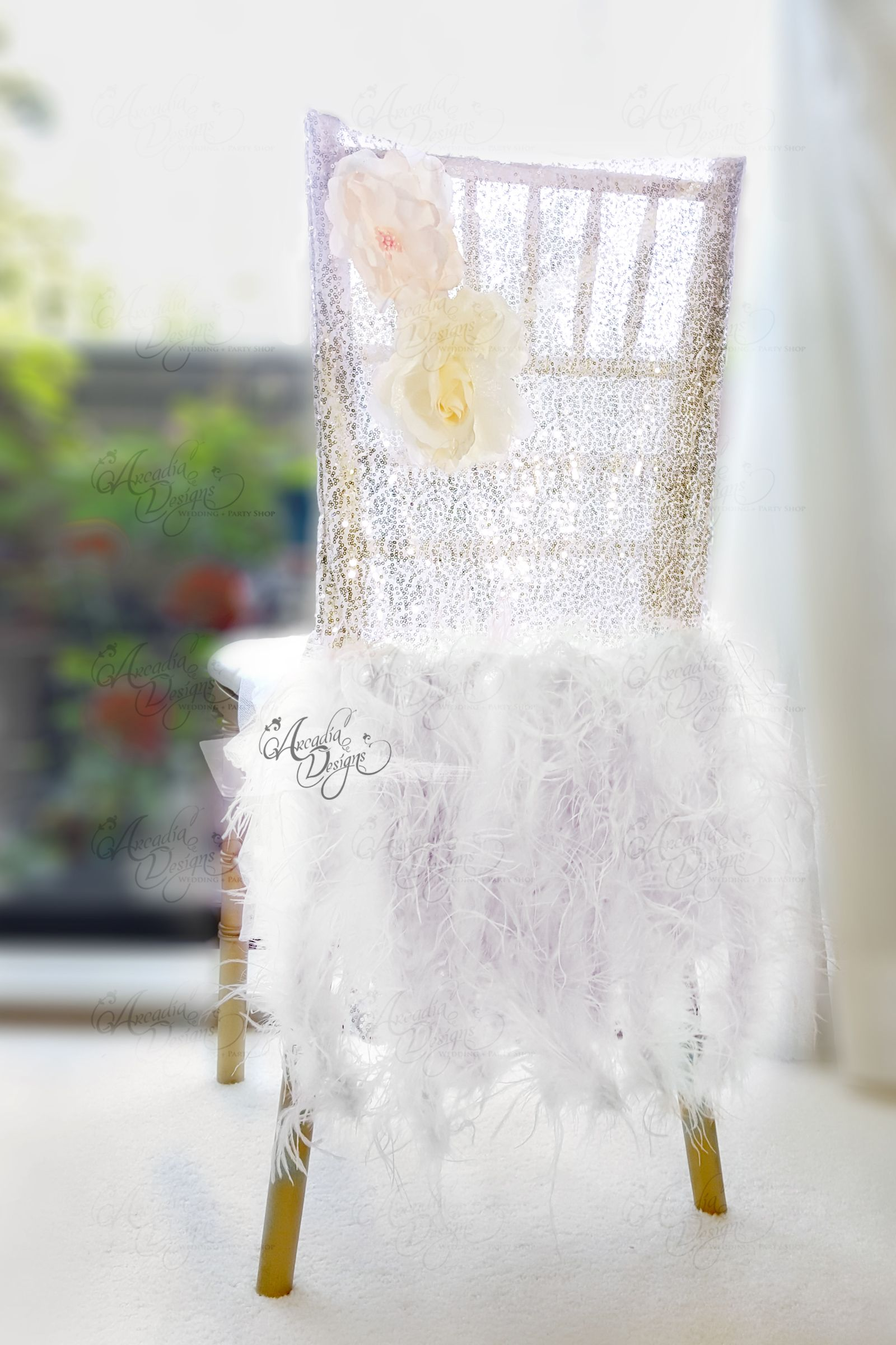 Ostrich Feather Rose Gold Sequin Chair Covers