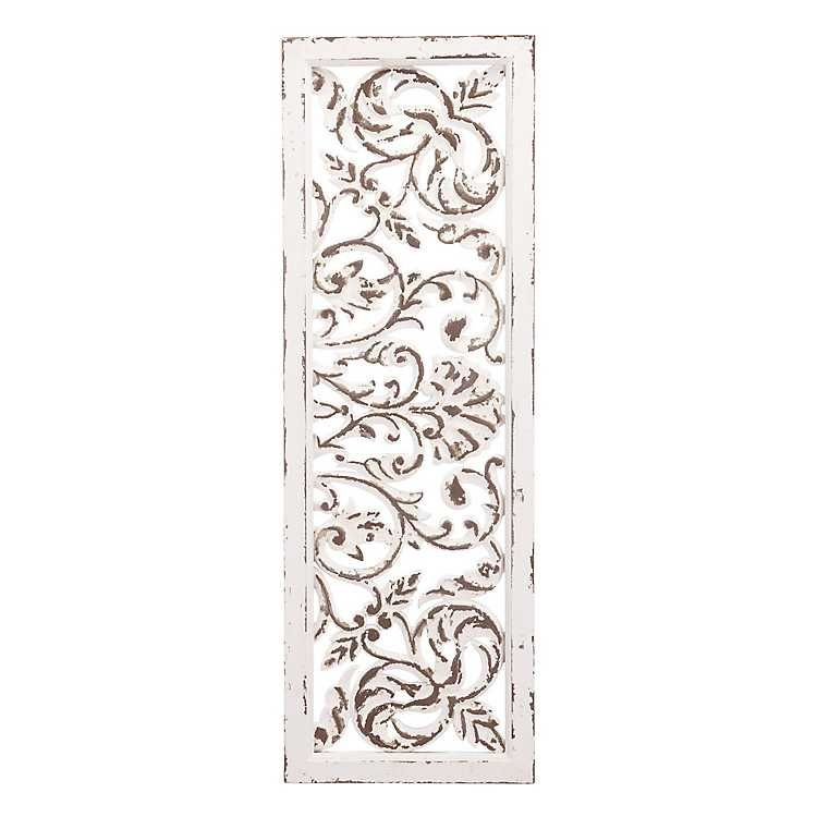 Distressed White Carved Metal Panel Wall Decor Zuo Modern White Paneling