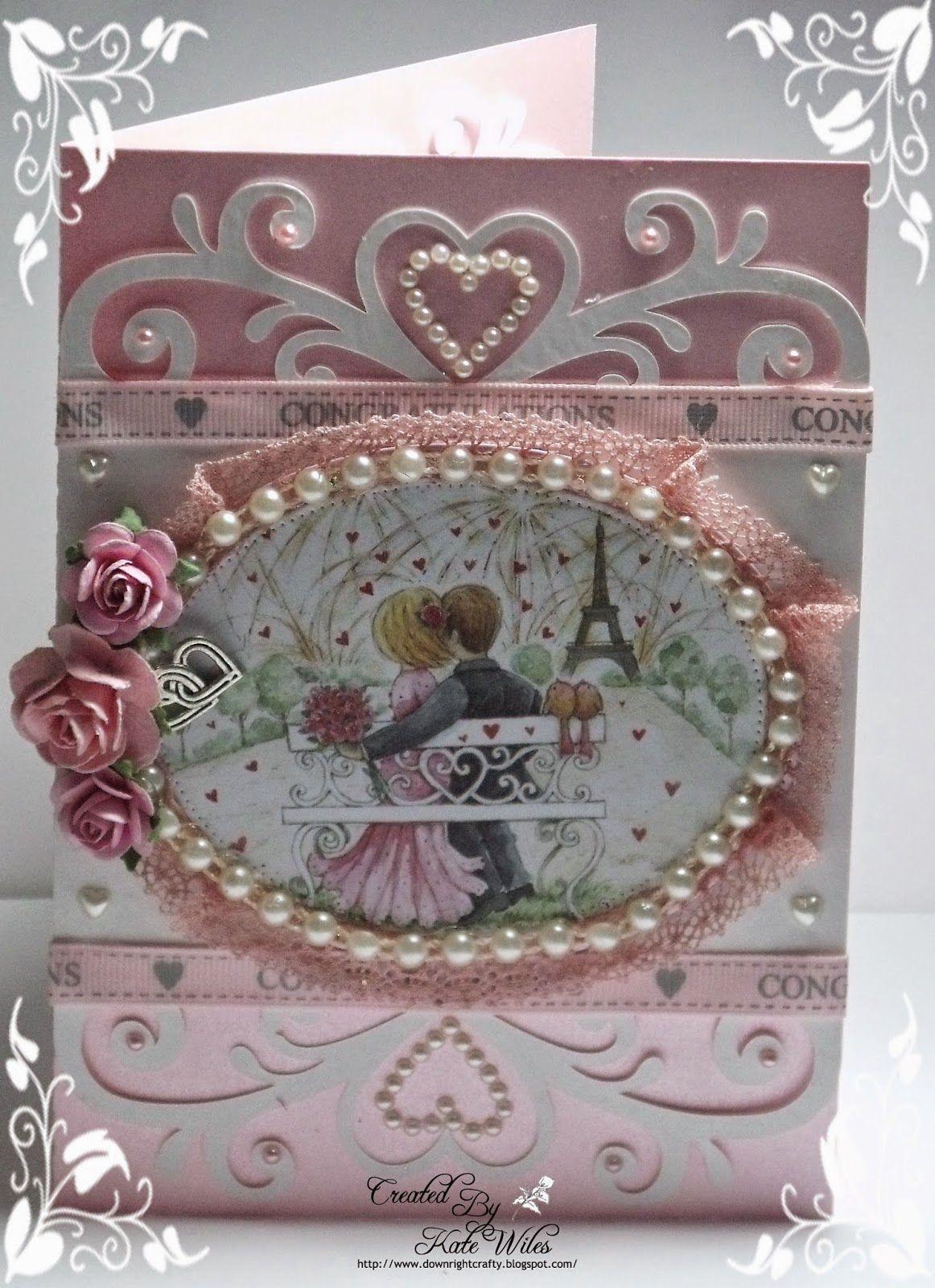 Handmade engagement card using wild rose studio panel crafty