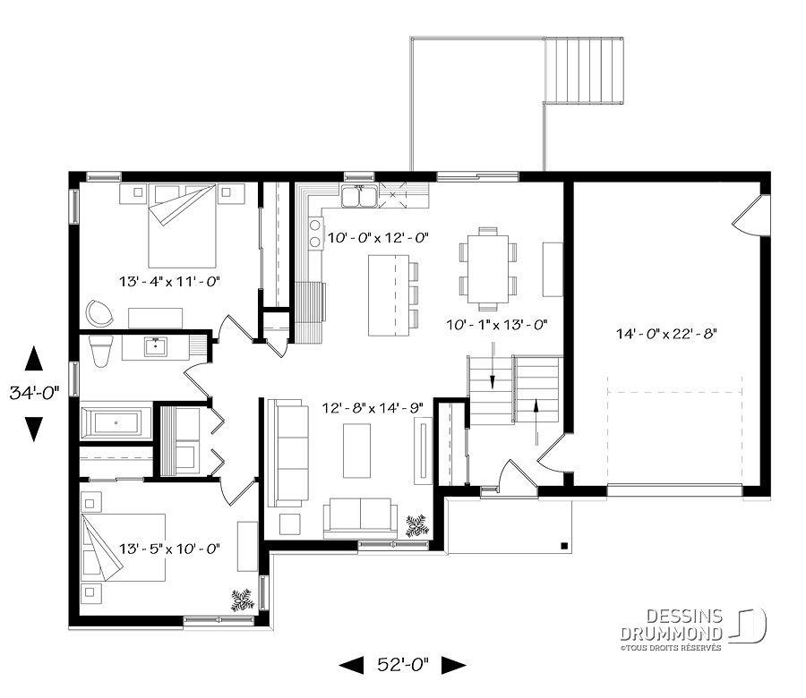 Plan de maison unifamiliale Hautbois 6 No 3323-BIG en 2018 Plans