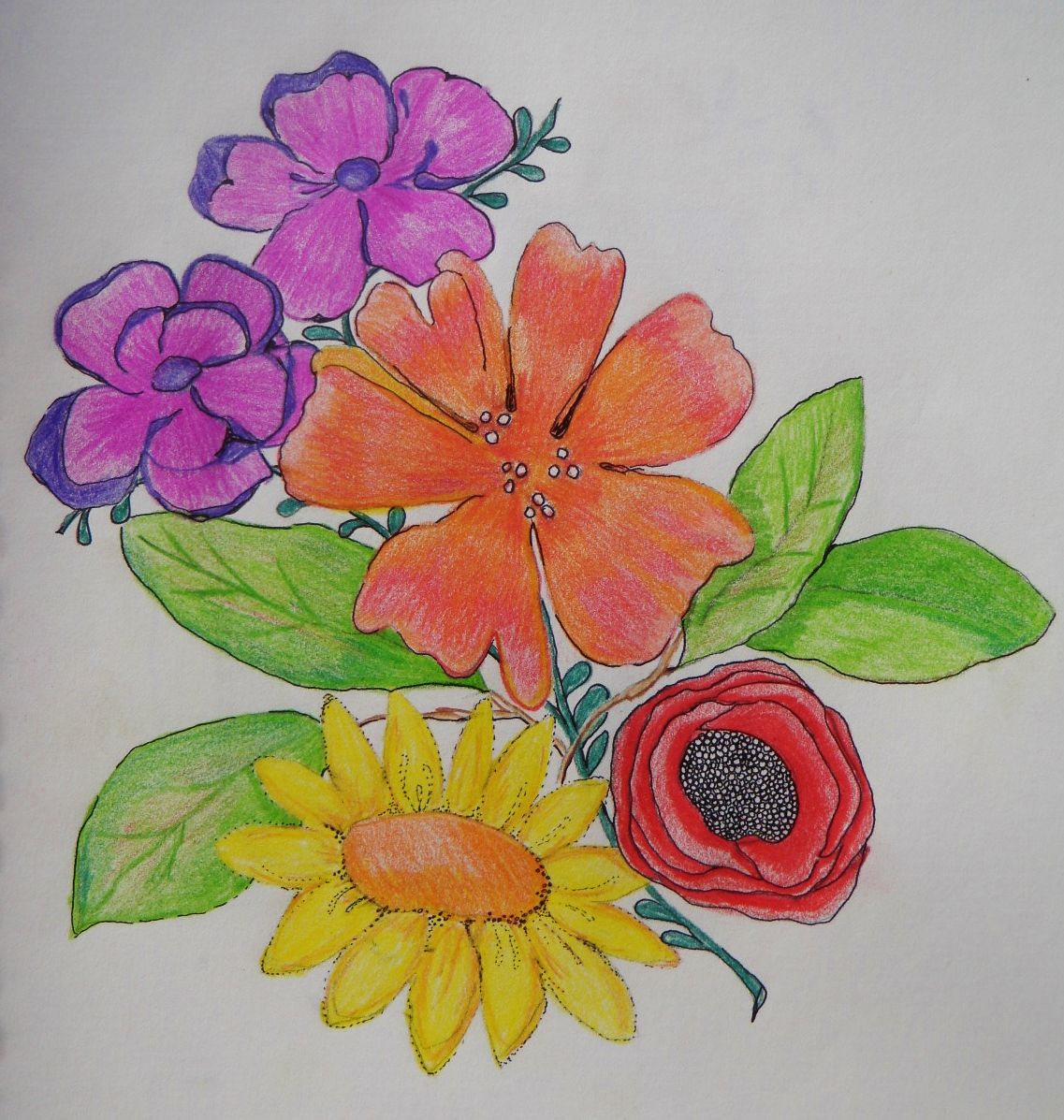 doodle a day ~ day 44 . Colored pencil flowers.   365 Days of ...