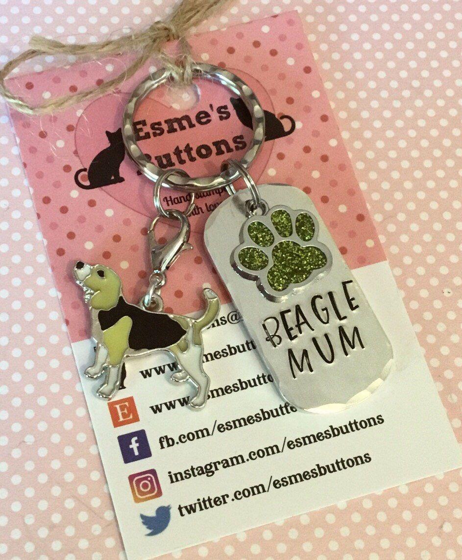 Beagle Dad Dog Keyring Fathers Day Gift Beagle Gifts Hand