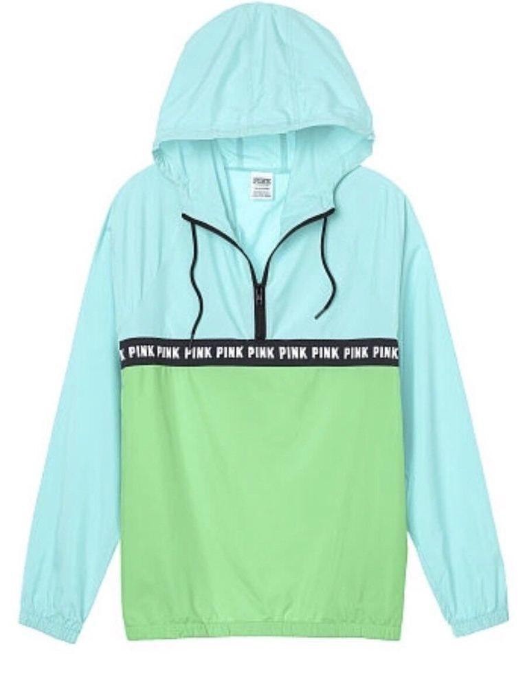685658cfaec35 Victoria s Secret PINK Anorak Windbreaker Jacket XS S JETSTREAM BLUE GREEN  - NEW  VictoriasSecret  Windbreaker  Casual