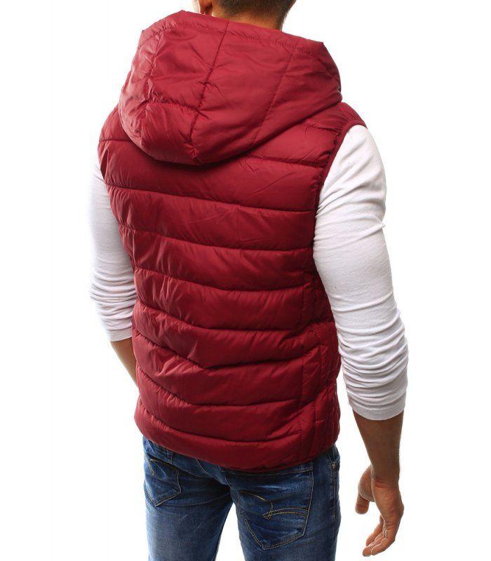 Pánska prešívaná červená vesta s kapucňou  6e05b320a3c