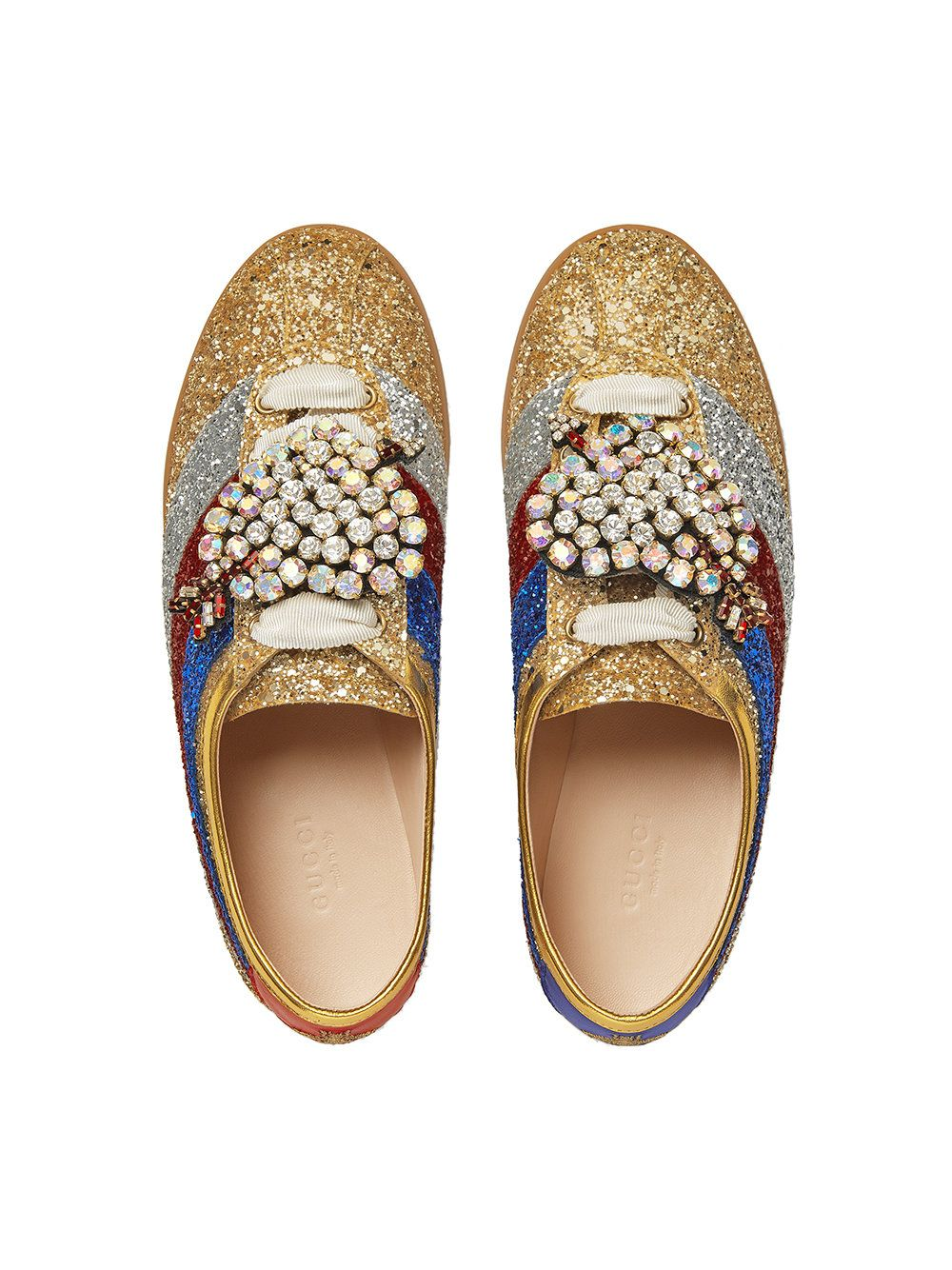 1a912a2eccb Gucci Falacer glitter sneaker with Web. Gucci Falacer glitter sneaker with Web  Red Glitter Shoes ...