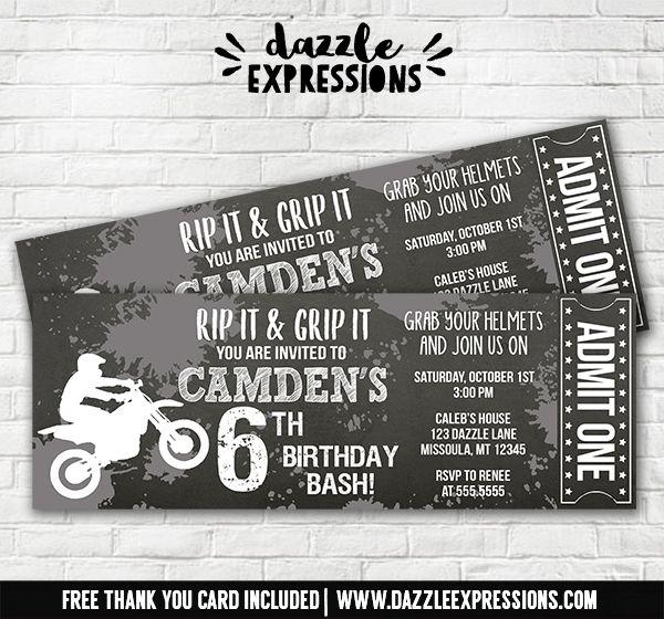 Printable Monochrome Chalkboard Dirt Bike Ticket Birthday Invitation Motocross Party Motorcycle Boys Black