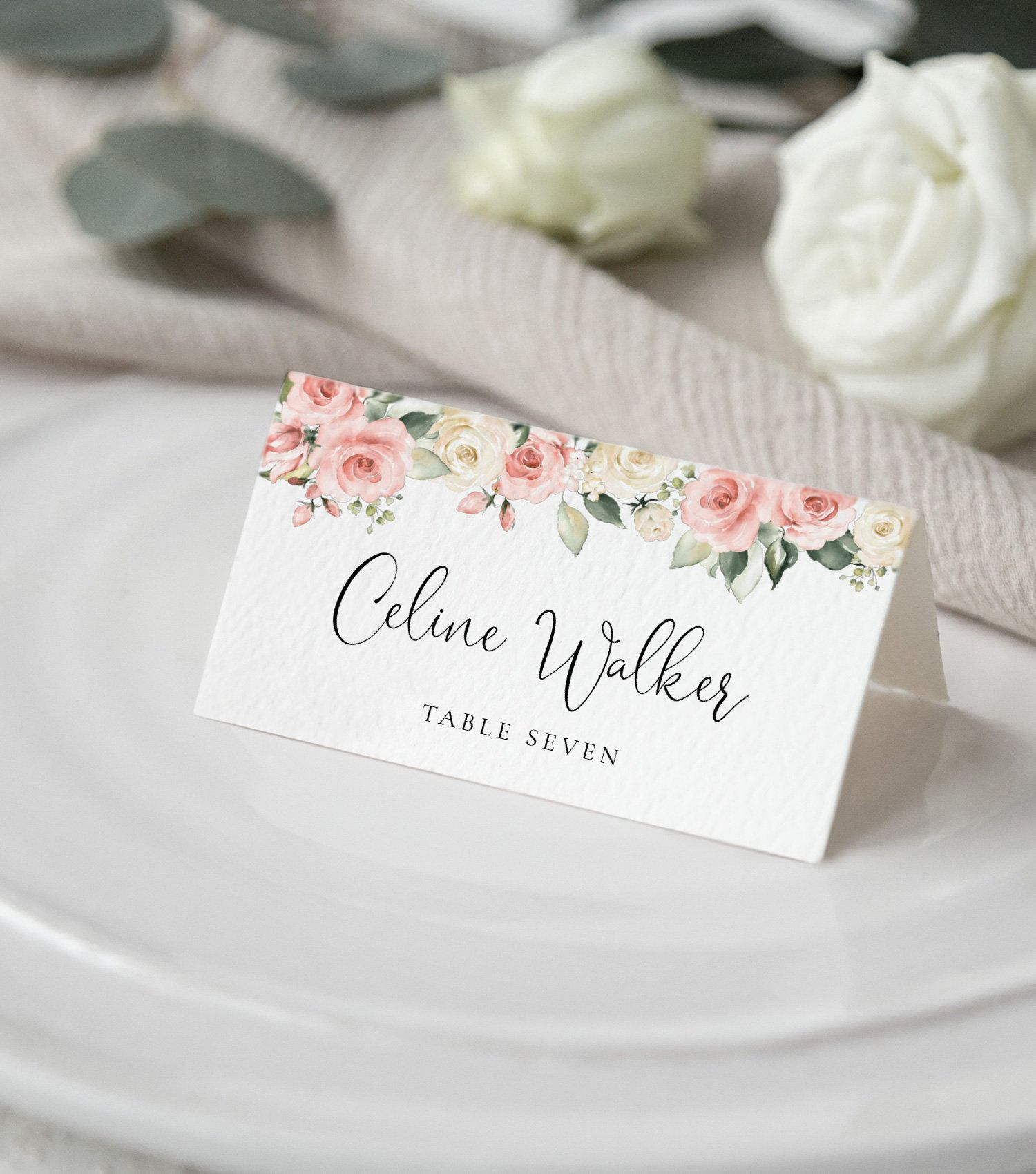 Wedding Place Card Template With Watercolor Light Pink Roses Etsy In 2021 Wedding Table Name Cards Wedding Place Cards Wedding Place Card Templates