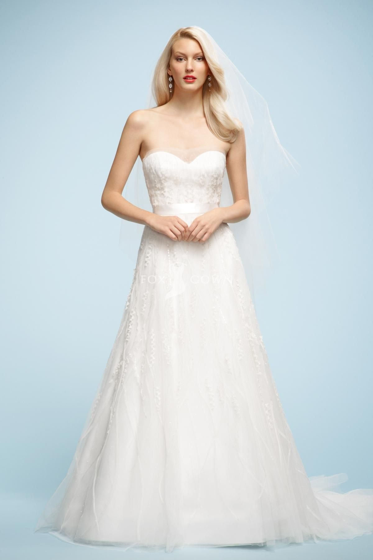 Sweetheart Wedding Dress With Sheer Tulle Overylady A Line Skirt Chapel Train 349